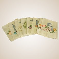 Vintage Seven Days of the Week Set of Kitchen Towels