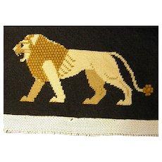 Vintage Needlepoint Lion