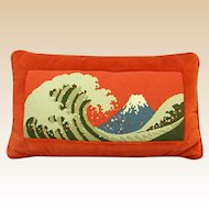 Vintage Needlepoint Pillow with Interesting Mountain Scene