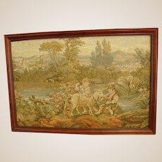 Tapestry with Precious Bucolic Scene of Children with Goat