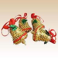 Set of Handmade Sequin Bell Christmas Ornaments