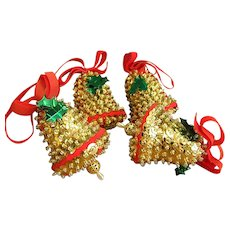 Set of Handmade Sequin Bell Christmas Ornaments