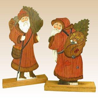 Warm and Homey Handmade Wooden Christmas Santa Pair