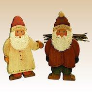 Charming Handmade Signed Wooden Christmas Santas