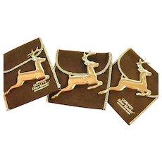 Vintage Gorham Sterling Christmas Reindeer Ornaments