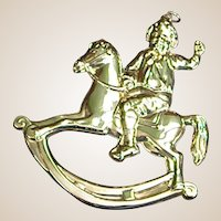 Vintage Gorham Sterling Christmas Rocking Horse Ornament