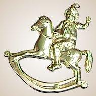 Vintage Gorham Sterling Christmas Rocking Horse Ornament