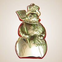 Vintage Gorham Sterling Christmas Snowman Ornament