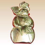 Vintage Gorham Sterling Christmas Snowman Ornament