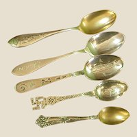 Sweet Set of Antique Sterling Engraved Birthday Gift Spoons