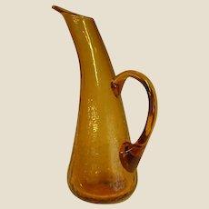 Tall Amber Crackle Handblown Glass Ewer Pitcher