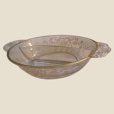 Cambridge Rose Point Gold Wash Divided Relish Dish with Handles