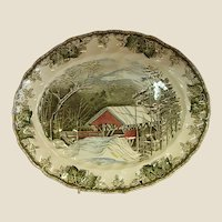 "Johnson Brothers Friendly Village 15"" Platter The Covered Bridge"