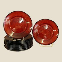 Ruby Red Cristal d'Arque French Luncheon Plates