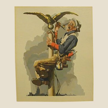 Painting in the style of Norman Rockwell – Gilding the Eagle