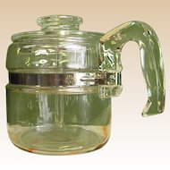 1950s 4-Cup Pyrex Glass Stove Top Coffee Pot/Percolator