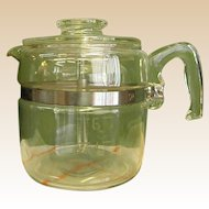 1950s 6-Cup Pyrex Glass Stove Top Coffee Pot/Percolator