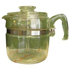 1950s 6-Cup Pyrex Glass Stove Top Coffee Pot/Percolator