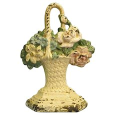 Vintage Hubley Cast Iron Flower Basket Doorstop