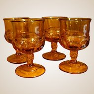 Vintage Indiana Glass Amber King's Crown Wine Stems