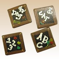 Charming Wooden Hand Painted Button Covers with Dog, Cat, 123, and ABC