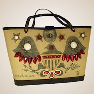 1960s Enid Collins Cloth Hand Bag Americana