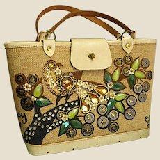 1960s Enid Collins Cloth Hand Bag Money Tree