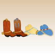 Fun Set of Handmade Wooden Cowboy Button Covers