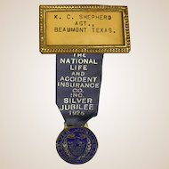 1926 Award/Advertising Ribbon for National Life & Accident Ins. Co.