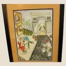 Wonderful Watercolor of Parisian Sidewalk Cafe