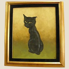 Framed Sassy Cat Oil Painting Signed and Dated