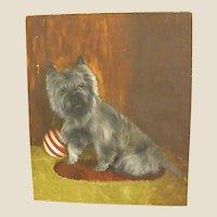 Naïve Oil Painting of Black Terrier