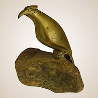 Naïve Brass Bird Sculpture on Granite