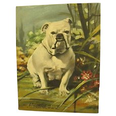 Wonderful Old Signed Oil Painting of Bulldog