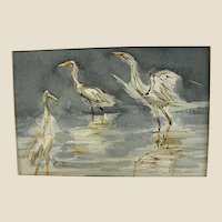 Wonderful Signed Miniature Watercolor of Cranes