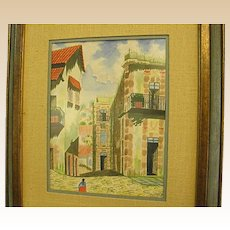 1970 Watercolor of Mexican Village by Davie Diaz