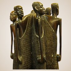 Fascinating Tanzanian Ebony Carving of Group of Villagers