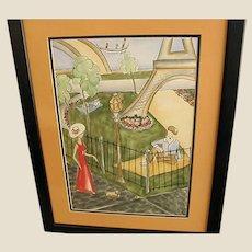 Wonderful Signed Watercolor of Parisian Scene