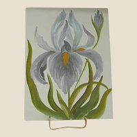 Oil on Canvas Board Of a Single Iris