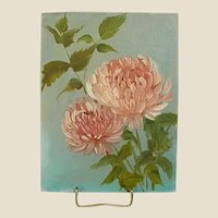 Oil on Canvas Board Two Pink Peonies