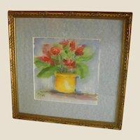 Delightful Framed, Signed Floral Watercolor