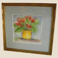 Delightful Framed, Signed Floral Watercolor
