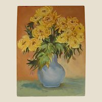 Acrylic on Stretched Canvas Yellow Flowers in a Vase