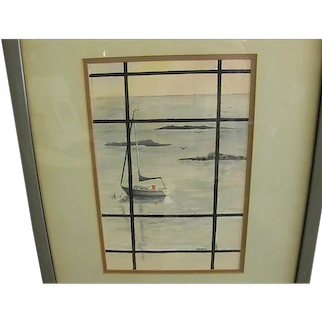 Interesting Signed and Dated Seascape Watercolor