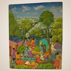 Colorful  Old Oil on Canvas of Haitian Life
