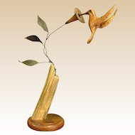 Delightful Delicate Wood and Metal Hummingbird Signed Sculpture