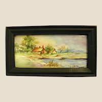 Miniature Signed Landscape Painting on Tile