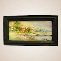 Miniature Signed Landscape Painting on Porcelain