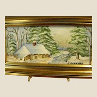 Wonderful Signed Miniature Framed Painting on Tile