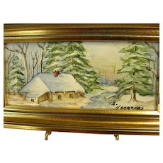 Wonderful Signed Miniature Framed Painting on Tile